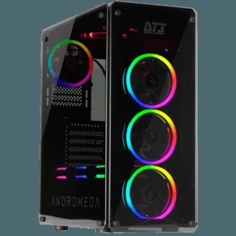 Gabinete Gamer DT3 Sports Andromeda, Mid Tower, Com 3 Fans RGB, Vidro Temperado, Black, S-Fonte