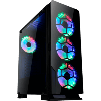 Gabinete Gamer liketec Diamond RGB Mid Tower com 3 Fan RGB Vidro Temperado Black S-Fonte
