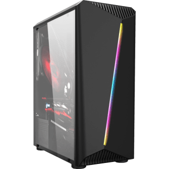 Gabinete Gamer Liketec Lighting RGB Vidro Temperado Mid Tower Preto S/Fonte