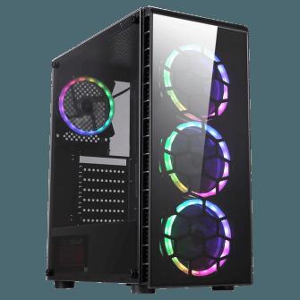 Gabinete Gamer Liketec Pryzmat RGB Vidro Temperado Mid Tower Preto S/Fonte