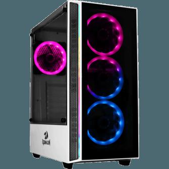 Gabinete Gamer Redragon Grapple Mid Tower S-Fan Vidro Temperado White S-fonte