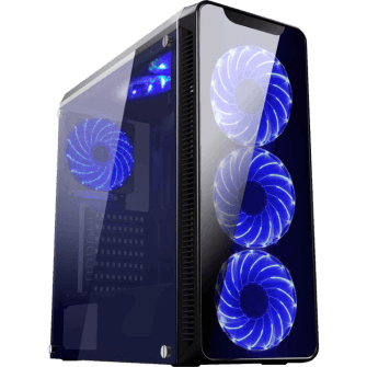 Gabinete Gamer K-mex Infinity II, Mid Tower, Com 3 Fans Blue, Lateral em Acrílico, Black, S-Fonte, CG-02G8