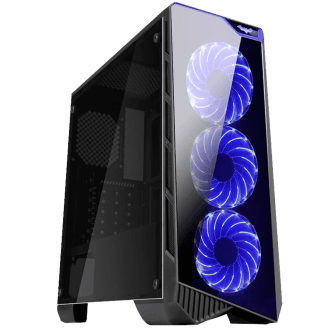 Gabinete Gamer K-mex Vamp, Mid Tower, Com 3 Fans Blue