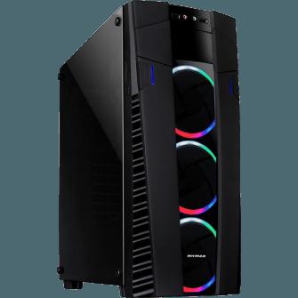 Gabinete Gamer Mymax Eclipse RGB, Mid Tower, Com 3 Fans, Vidro Temperado, S-Fonte, Black, MCA-FC-EC09A/RGB