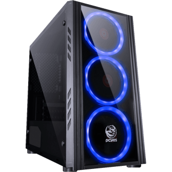 Gabinete Gamer PCyes Saturn, Mid Tower, Com 3 Fans Blue