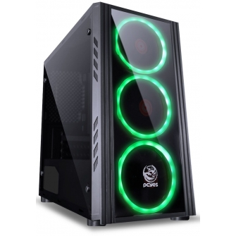Gabinete Gamer PCyes Saturn, Mid Tower, Com 3 Fans Green