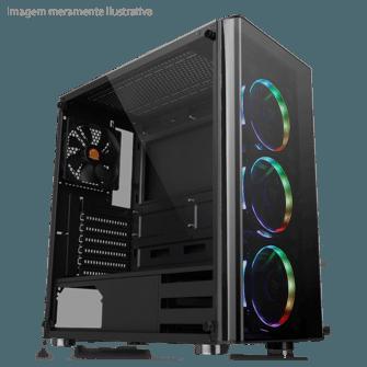 Gabinete Gamer Thermaltake V200, Mid Tower, Com 1 Fan, Vidro temperado, Black, S-Fonte, CA-1K8-00M1WN-00