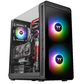 Gabinete Gamer Thermaltake View 37 ARGB, Mid Tower, Com 3 Fans RGB, Black, S-Fonte, CA-1J7-00M1WN-04