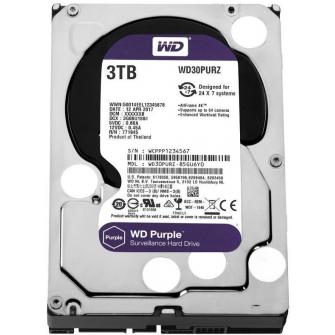 HD Western Digital Purple Surveillance 3TB, Sata III, 5400RPM, 64MB, WD30PURZ