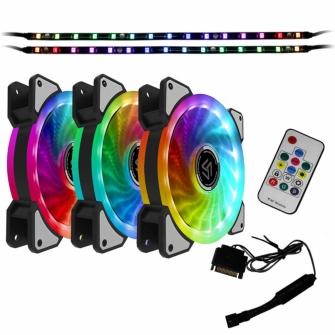 Kit Fan com 3 Unidades Alseye Dual Ring Rainbow RGB, 120mm, Fita LED, com Controlador, CRLS-300D