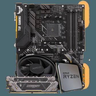 Kit Upgrade Placa Mãe Asus TUF B450-Plus Gaming DDR4 + Processador AMD Ryzen 5 2600X 3.6GHz + Memória DDR4 Crucial Ballistix Sport TUF Edition 16GB (2X8GB) 3000MHz