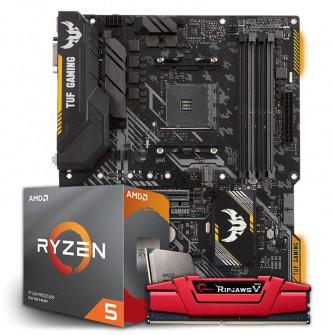 Kit Upgrade Placa Mãe Asus TUF B450-Plus Gaming, AMD AM4 + Processador AMD Ryzen 5 3600 3.6GHz + Memória DDR4 G.Skill Ripjaws V 8GB 2800MHz