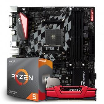 Kit Upgrade Placa Mãe Biostar Racing B350GT3, AMD AM4 + Processador AMD Ryzen 5 3600 3.6GHz + Memória DDR4 G.Skill Ripjaws V 8GB 2800MHz