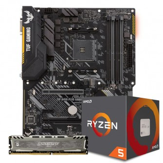 Kit Upgrade Placa Mãe Asus TUF B450-Plus Gaming DDR4 + PROCESSADOR AMD RYZEN 5 2600 3.4GHZ + Memória DDR4 8GB 2666MHZ