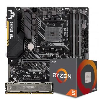 Kit Upgrade Placa Mãe Asus TUF B450M-PLUS GAMING DDR4 AMD AM4 + PROCESSADOR AMD RYZEN 5 2600 3.4GHZ + Memória DDR4 8GB 2666MHZ