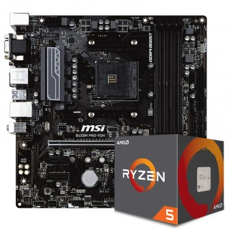 Kit Upgrade Placa Mãe MSI B450M PRO-VDH DDR4 AM4 + PROCESSADOR AMD RYZEN 5 2600 3.4GHZ