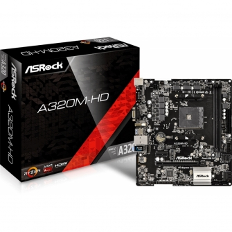 Placa Mãe ASRock A320M-HD, Chipset A320, AMD AM4, mATX, DDR4