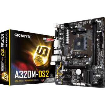 Placa Mãe Gigabyte GA-A320M-DS2, Chipset A320, AMD AM4, mATX, DDR4