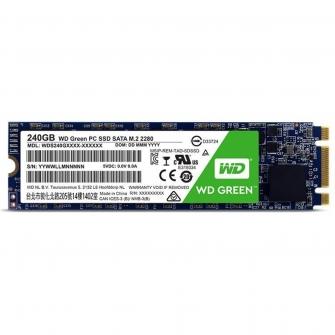 SSD WD Green 240GB, M.2 2280, Leitura 540MBs e Gravação 465MBs, WDS240G2G0B
