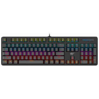 Teclado Mecânico Havit RGB, Switch Outemu Brown, ABNT-2, Black, HV-KB366L