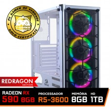 Pc Gamer Redragon Edition AMD Ryzen 5 3600 / Radeon RX 590 8GB / DDR4 8GB / HD 1TB / SSD 120GB / 600W