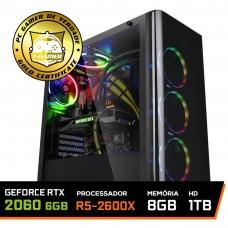 Pc Gamer Super Streamer Lvl-4 Amd Ryzen 5 2600X 3.6GHZ / Geforce Rtx 2060 6gb / 8gb Ddr4 / Hd 1tb / 600W