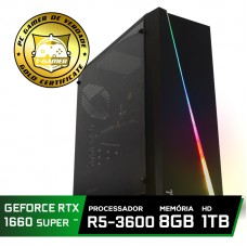 Pc Gamer Super T-Commander Lvl-8 AMD Ryzen 5 3600 / GeForce GTX 1660 Super 6GB / DDR4 8GB / HD 1TB / 500W