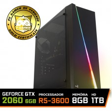 Pc Gamer Super T-Commander Lvl-9 AMD Ryzen 5 3600 / GeForce RTX 2060 6GB / DDR4 8GB / HD 1TB / 600W / RZ3