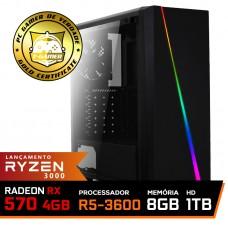 Pc Gamer Super T-Commander Lvl-1 AMD Ryzen 5 3600 / Radeon RX 570 4GB / DDR4 8GB / HD 1TB / 500W / RZ3