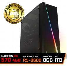 Pc Gamer Super T-Commander Lvl-1 AMD Ryzen 5 3600 / Radeon RX 570 4GB / DDR4 8GB / HD 1TB / 500W