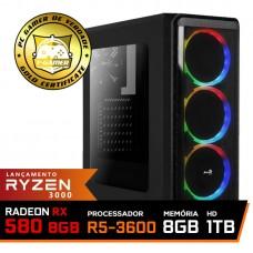 Pc Gamer Super T-Commander Lvl-2 AMD Ryzen 5 3600 / Radeon RX 580 8GB / DDR4 8GB / HD 1TB / 600W / RZ3