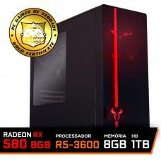 Pc Gamer Super T-Commander Lvl-2 AMD Ryzen 5 3600 / Radeon RX 580 8GB / DDR4 8GB / HD 1TB / 600W
