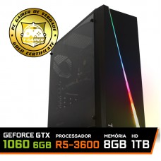 Pc Gamer Super T-Commander Lvl-5 AMD Ryzen 5 3600 / GeForce GTX 1060 6GB / DDR4 8GB / HD 1TB / 600W / RZ3