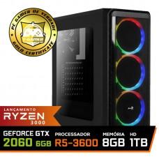 Pc Gamer Super T-Commander Lvl-8 AMD Ryzen 5 3600 / GeForce RTX 2060 6GB / DDR4 8GB / HD 1TB / 600W / RZ3