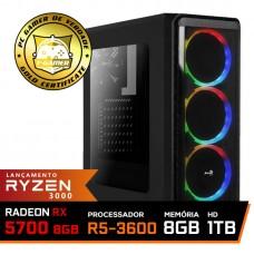 Pc Gamer Super T-Commander Lvl-9 AMD Ryzen 5 3600 / Radeon NAVI RX 5700 8GB / DDR4 8GB / HD 1TB / 600W / RZ3