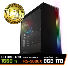 Pc Gamer Super T-General Lvl-4 AMD Ryzen 5 3600X / GeForce GTX 1660 Ti 6GB / DDR4 8GB / HD 1TB / 500W / RZ3