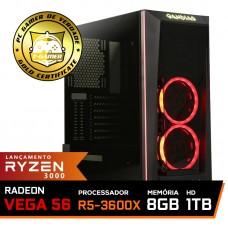 Pc Gamer Super T-General Lvl-2 AMD Ryzen 5 3600X / Radeon Vega 56 8GB / DDR4 8GB / HD 1TB / 600W / RZ3
