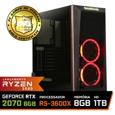 Pc Gamer Super T-General Lvl-6 AMD Ryzen 5 3600X / GeForce RTX 2070 8GB / DDR4 8GB / HD 1TB / 600W / RZ3