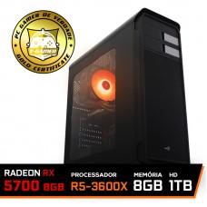 Pc Gamer Super T-General Lvl-7 AMD Ryzen 5 3600X / Radeon NAVI RX 5700 8GB / DDR4 8GB / HD 1TB / 600W / RZ3