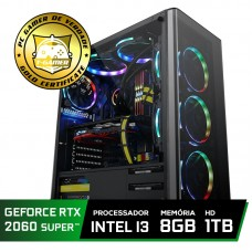 Pc Gamer Super Tera Edition Intel Core i3 9100F / GeForce RTX 2060 Super / DDR4 8Gb / HD 1TB / 500W