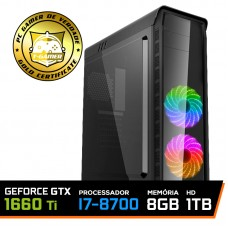 PC Gamer T-Captain LVL-3 Intel i7 8700 / GeForce GTX 1660 Ti 6GB / DDR4 8GB / HD 1TB / 500W