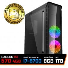 PC Gamer T-Captain LVL-5 Intel i7 8700 / RADEON RX 570 4GB / DDR4 8GB / HD 1TB / 500W