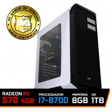 PC Gamer T-Captain LVL-5 Intel i7 8700 / RADEON RX 570 4GB / DDR4 8GB / HD 1TB / 500W