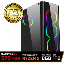 Pc Gamer T-Commander Lvl-6 Amd Ryzen 5 2600 / RADEON RX 570 4GB / DDR4 8GB / HD 1TB / 500W