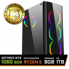 Pc Gamer T-Commander LVL-1 AMD Ryzen 5 2600 / GEFORCE GTX 1060 6GB / DDR4 8Gb / HD 1TB / 500W