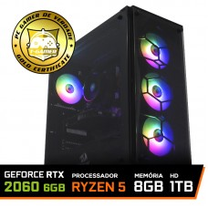 Pc Gamer T-Commander LVL-4 AMD Ryzen 5 2600 / GeForce RTX 2060 6GB / DDR4 8GB / HD 1TB / 600W