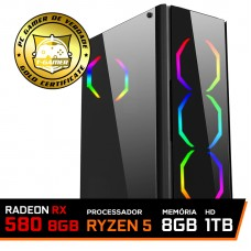 Pc Gamer T-Commander LVL-7 AMD Ryzen 5 2600 / RADEON RX 580 8GB / DDR4 8GB / HD 1TB / 500W