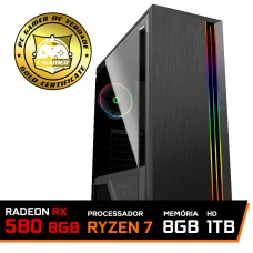 Pc Gamer T-General Lvl-6 AMD Ryzen 7 2700 / RADEON RX 580 8GB / DDR4 8GB / HD 1TB / 600W