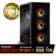 Pc Gamer T-General Lvl-6 AMD Ryzen 7 2700 / Radeon RX 580 8GB / DDR4 8GB / HD 1TB / 600W