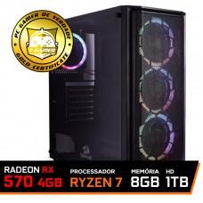 Pc Gamer T-General Lvl-5 AMD Ryzen 7 2700 / Radeon RX 570 4GB / DDR4 8GB / HD 1TB / 500W